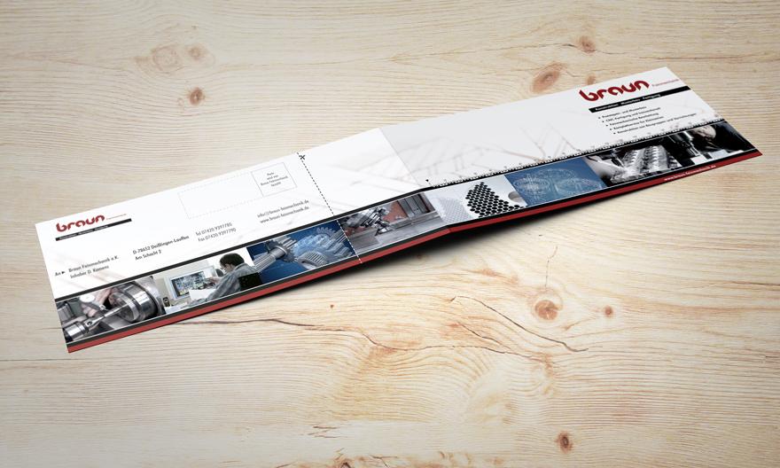 Gestaltung Flyer Braun Feinmechanik