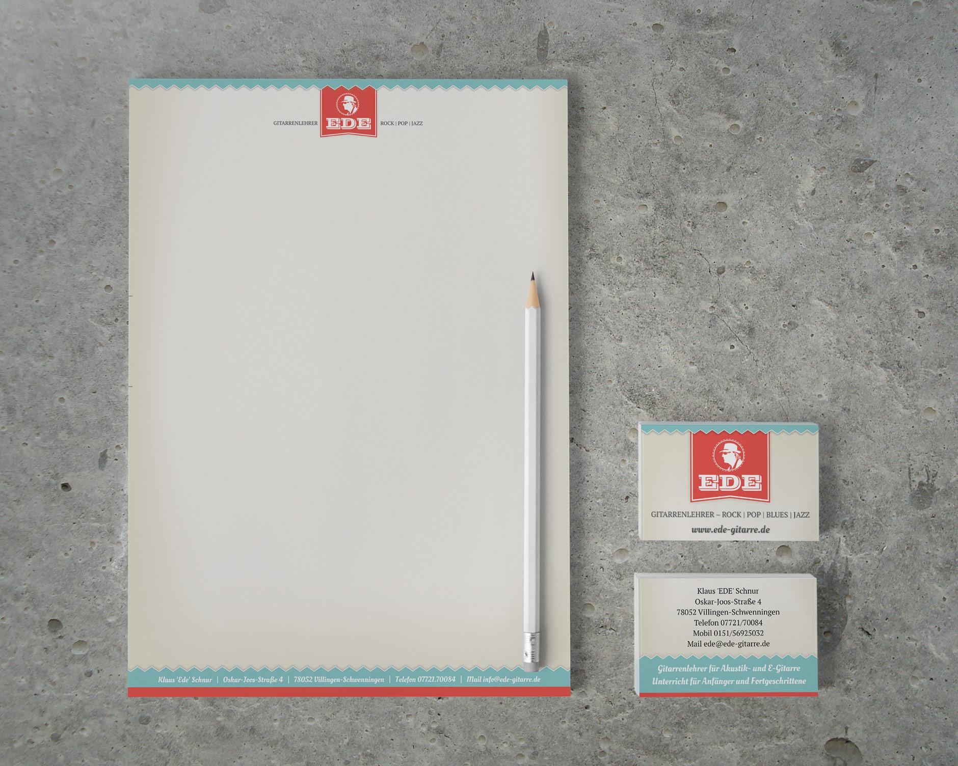 Design EDE Briefbogen und Visitenkarte