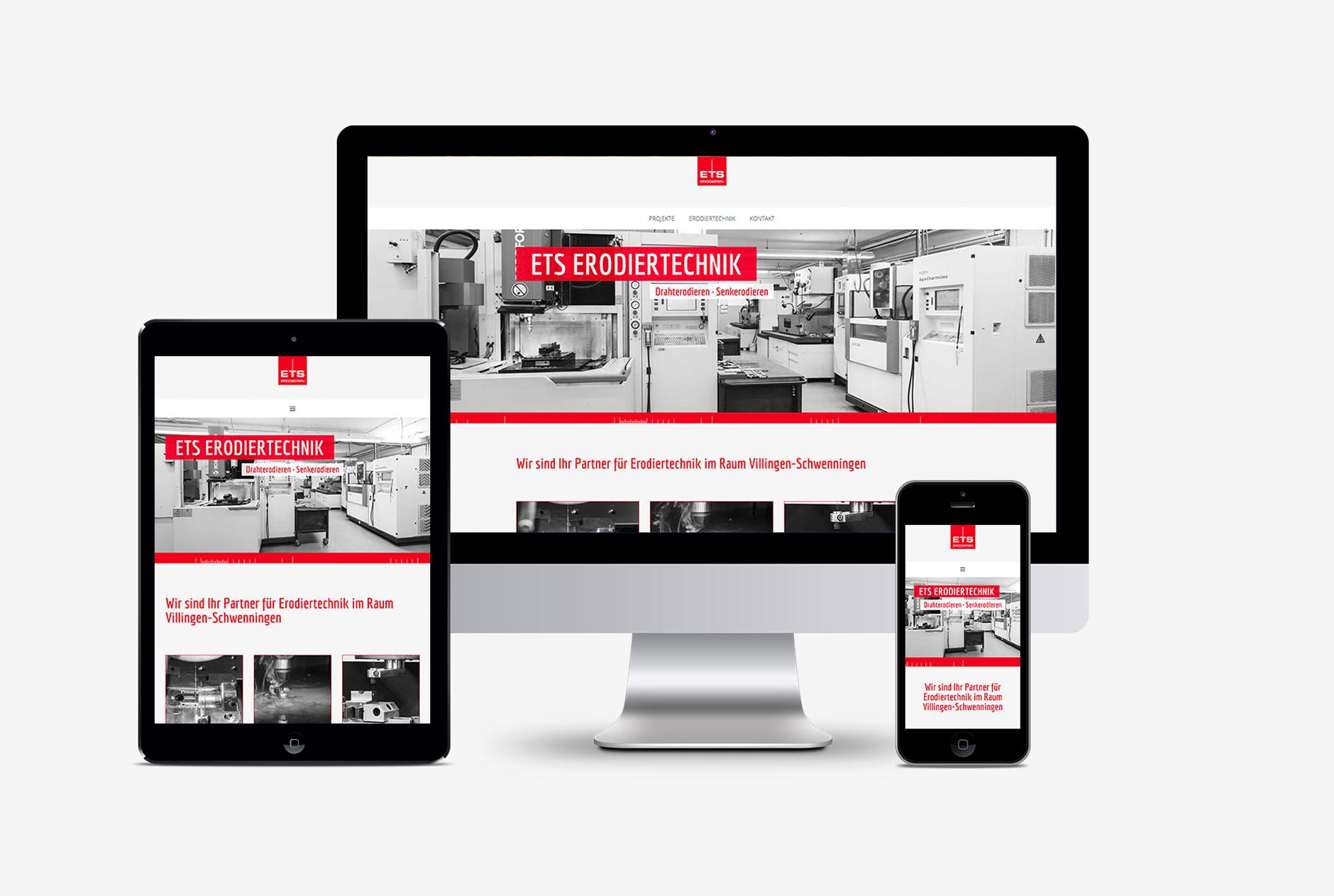 ets erodiertechnik website webdesign homepage-Webdesign ETS Erodiertechnik Villingen