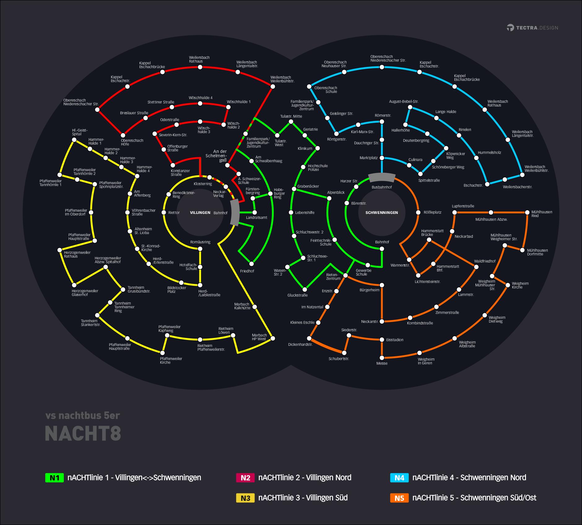 vsbus nachtacht nachtbus 5er entwurf dark web-Linienplan Bus Konzept